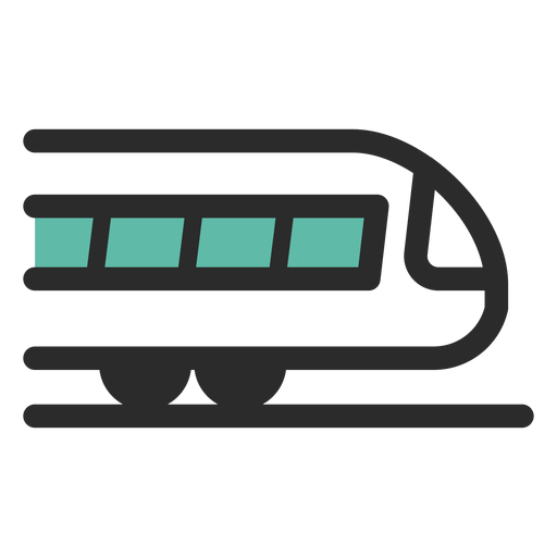 Icono de trazo de color de tren Transparent PNG