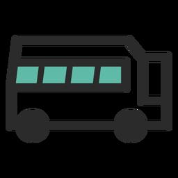 Icono de trazo de color de autobús de viaje