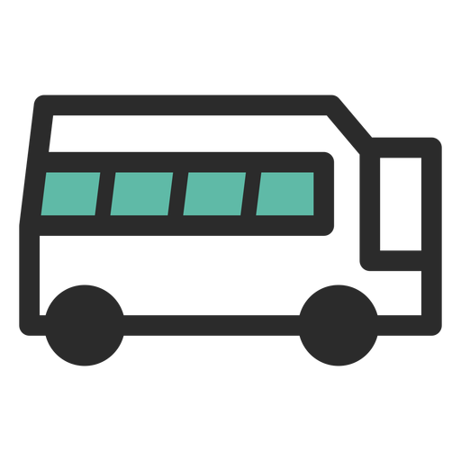 Travel bus colored stroke icon Transparent PNG