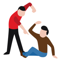 Vandal character beating up man