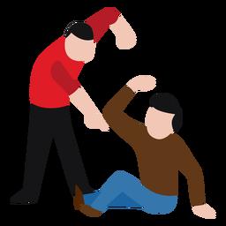 Vandalismo personaje golpeando hombre