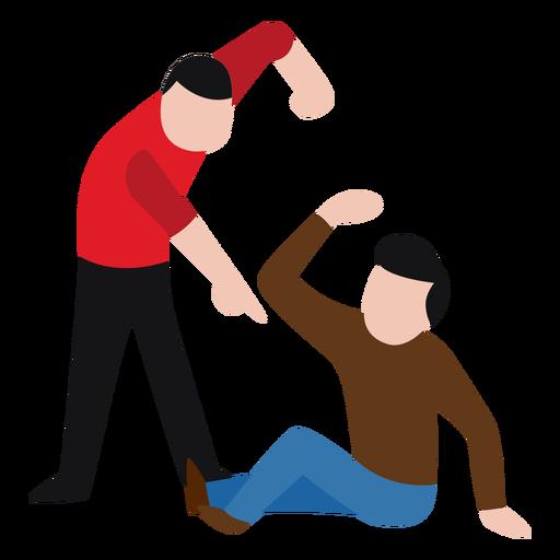 Vandal character beating up man Transparent PNG