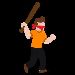 Vandalismo personaje sosteniendo un bate de béisbol.