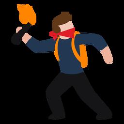 Personagem de vândalo jogando molotov