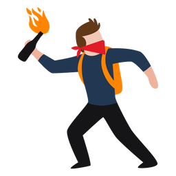 Vandal character throwing molotov