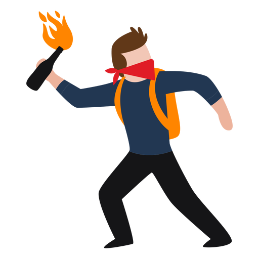 Vandal character throwing molotov Transparent PNG
