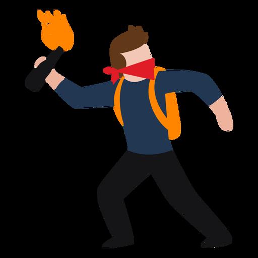 Vandalismo lanzando personaje molotov. Transparent PNG