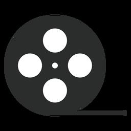 Icono plano del carrete de cinta de video