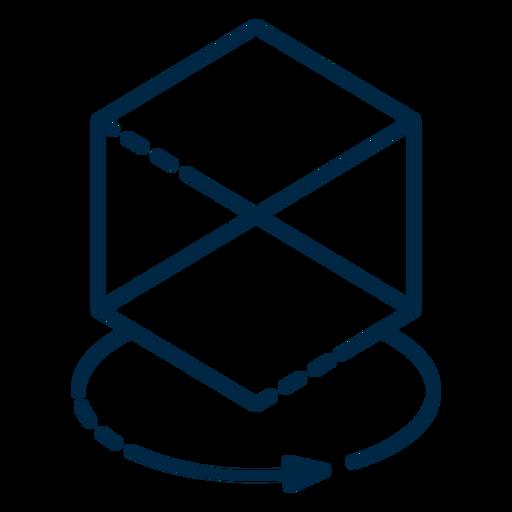 Icono de trazo de cubo de realidad virtual Transparent PNG