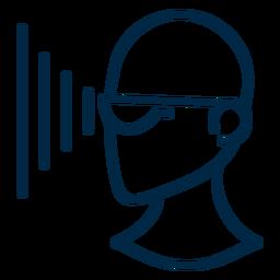 Proyección de gafas de realidad virtual.