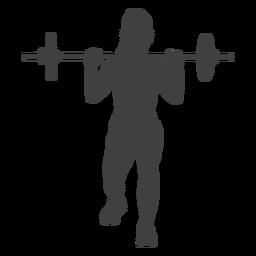 Mujer con barra de pesas lanza silueta delantera