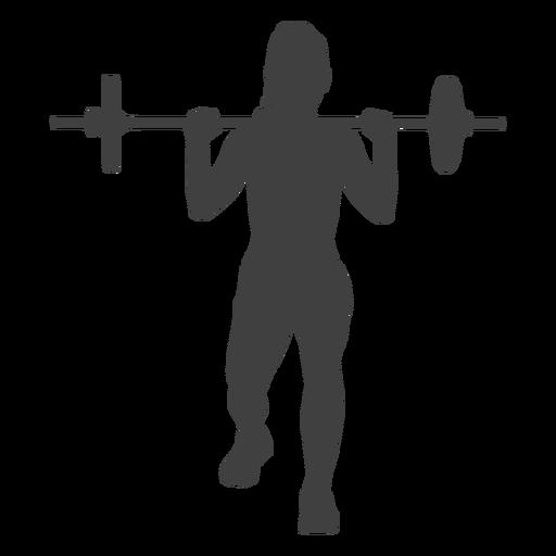 Barbell de mulher lunges frente silhueta Transparent PNG