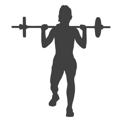 Woman barbell lunges front silhouette Transparent PNG