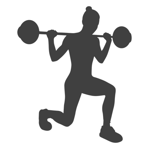 Woman barbell lunges silhouette Transparent PNG