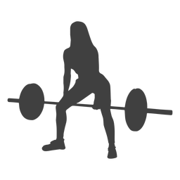 Mujer inclinada sobre la silueta de la fila