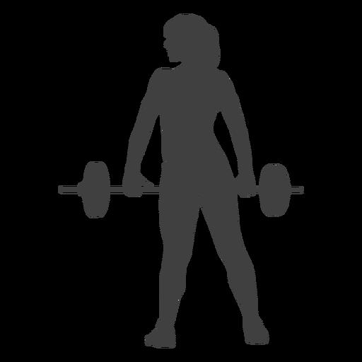 Frau, die Barbellschattenbild hält Transparent PNG