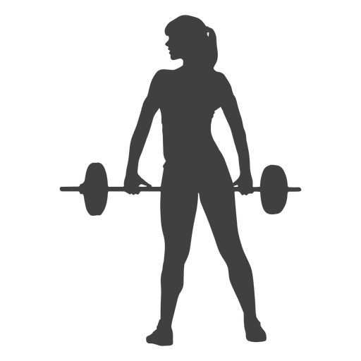 Woman holding barbell silhouette Transparent PNG
