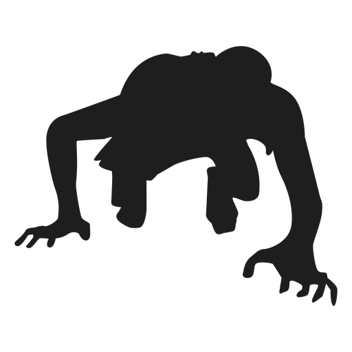 Zombie crawling silhouette
