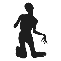 Zombie on knees silhouette