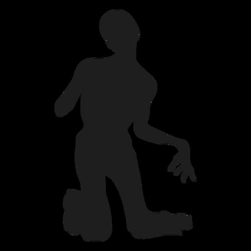 Zombie en silueta de rodillas Transparent PNG
