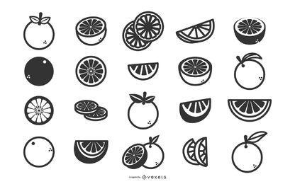 Conjunto de iconos planos de naranjas