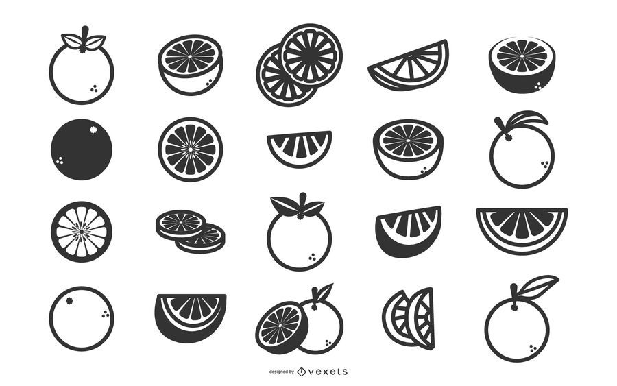 Oranges flat icon set