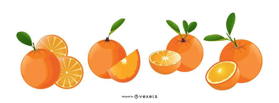 Oranges fruits illustrated icons