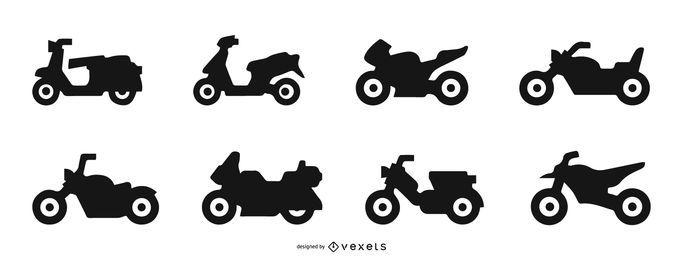 Conjunto de silueta de motocicleta