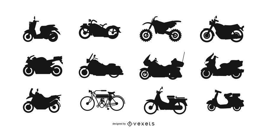 Conjunto de silhueta de moto