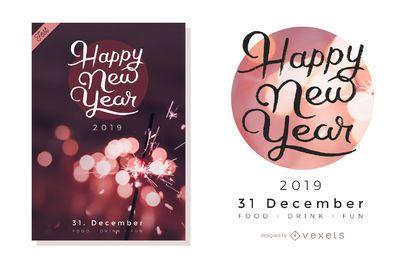 Künstlerisches Neujahr Party Design