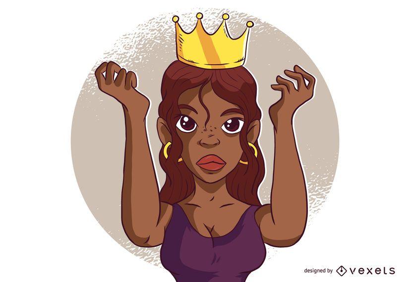 Mulher, desgastar, coroa, caricatura
