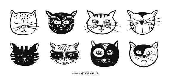 Conjunto de ilustração de avatares de gato