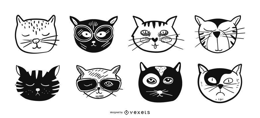 Cat avatars illustration set