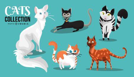 Coleção de ilustração de gatos