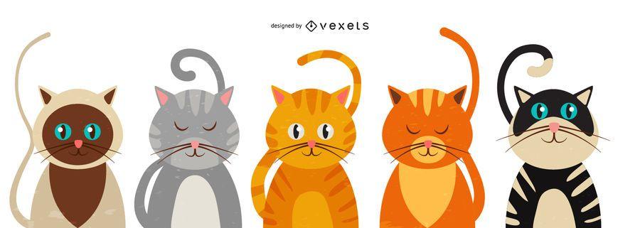 Conjunto de ilustración de gato lindo