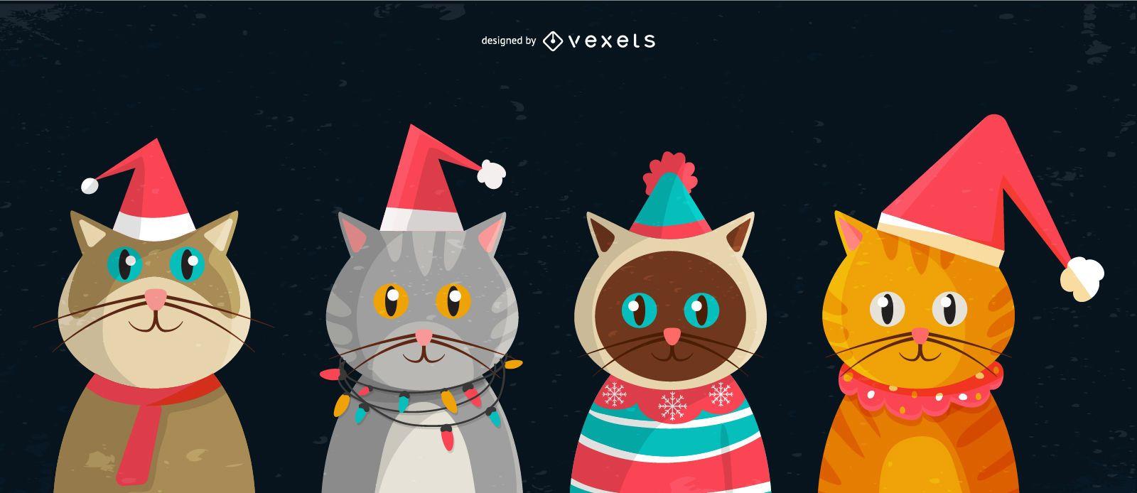Christmas cats illustration set