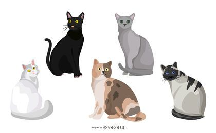 Coleção de adesivos de gatos