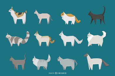 Conjunto de ícones geométricos de gato