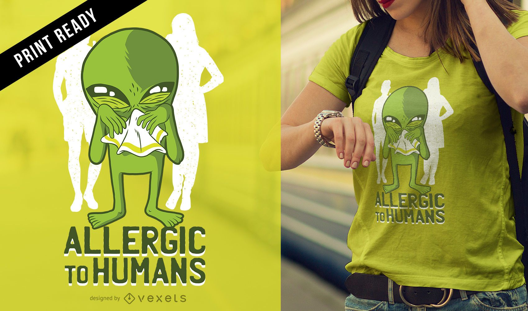 Diseño de camiseta alérgica a los humanos.