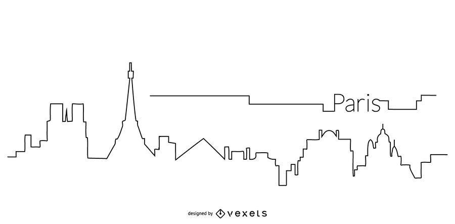Contorno do horizonte de Paris