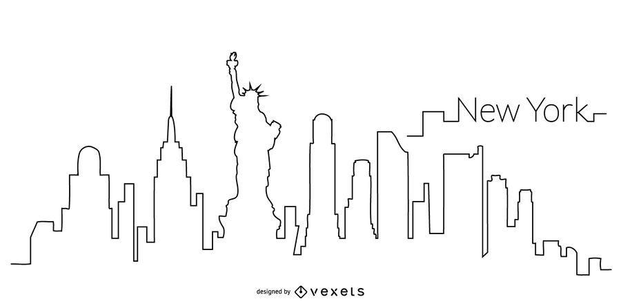 Contorno del horizonte de Nueva York
