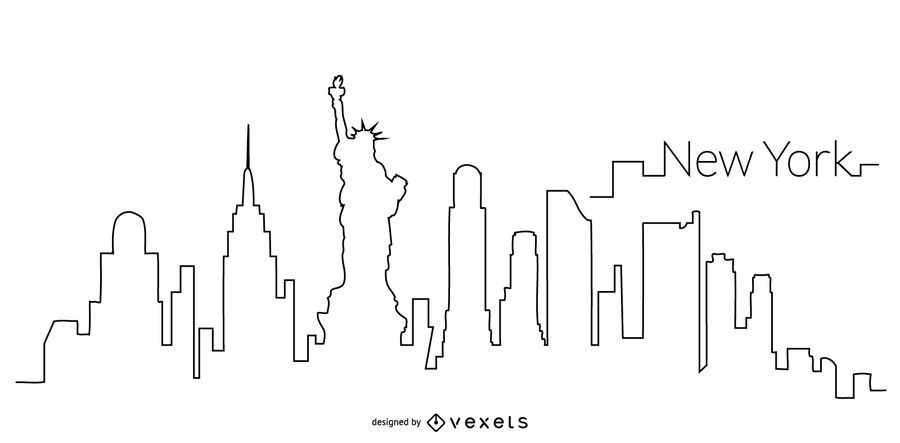 Contorno do horizonte de Nova York