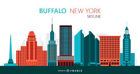 Büffel-Skyline-Illustration