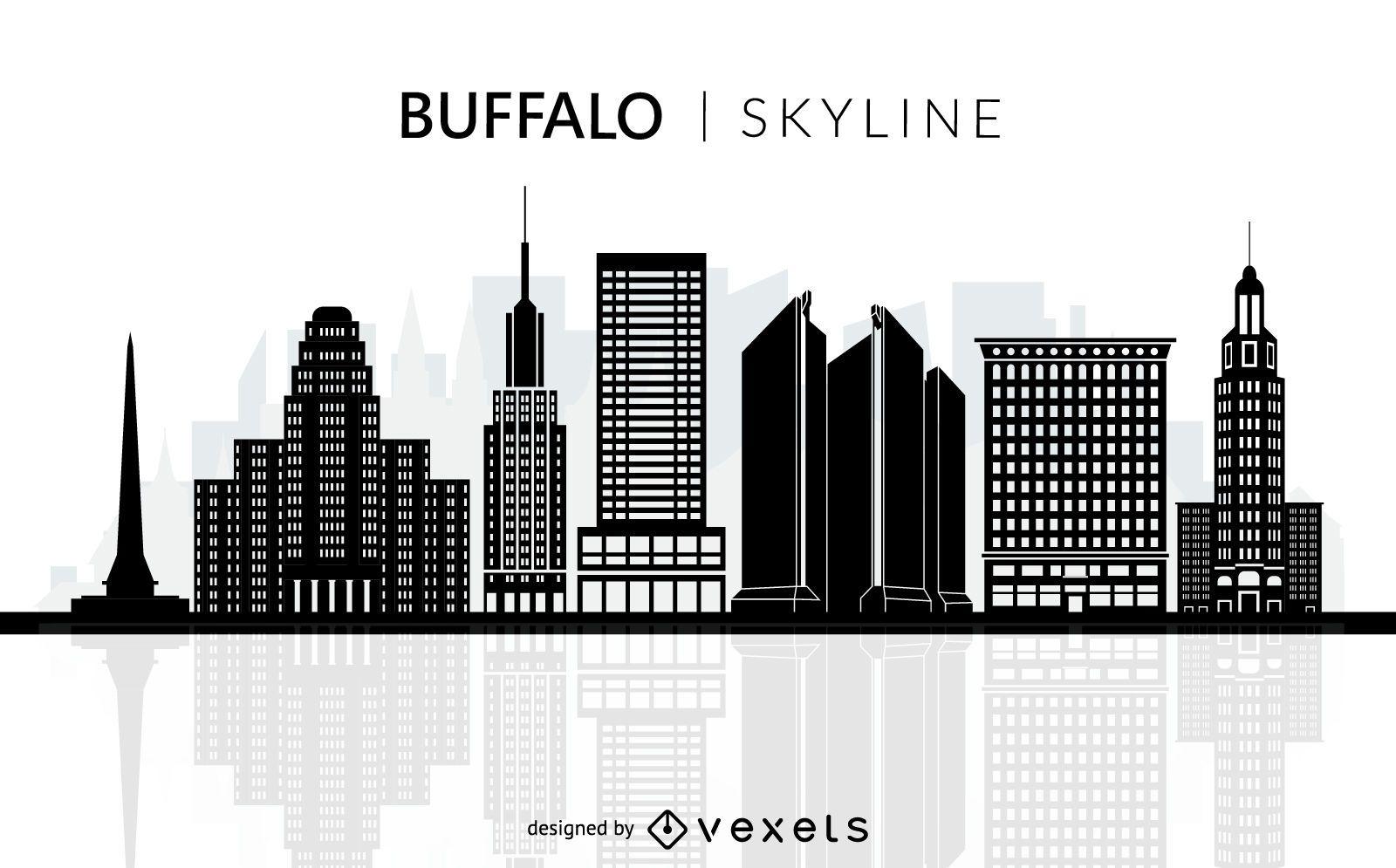Buffalo skyline silhouette
