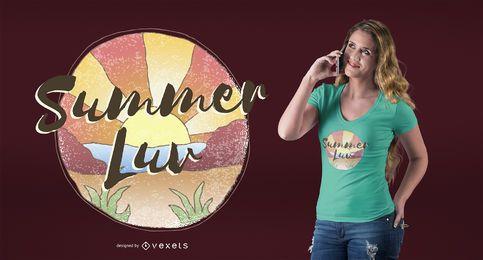 Diseño de camiseta de amor de verano.