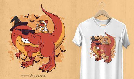 Diseño de camiseta de pug y dinosaurio de Halloween