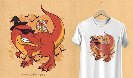 Halloween pug and dinosaur t-shirt design