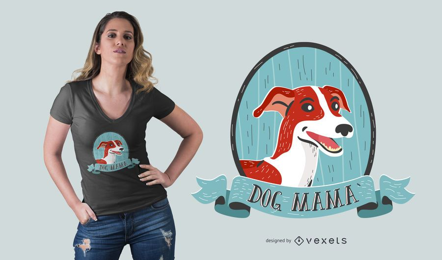 Diseño de camiseta perro mamá.