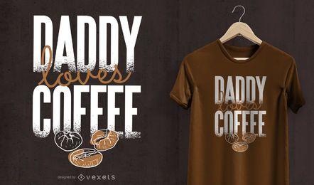 O pai ama o design do t-shirt do café
