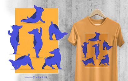 Diseño divertido de la camiseta del perro de las asanas de la yoga del dogo francés